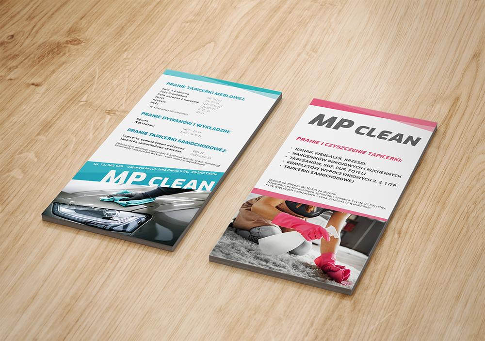 MP Clean / materiały reklamowe - ulotka-cennik / design: Alicja Rzepa